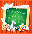 school background with board and message vector image