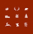 set christmas decorative icons red vector image vector image