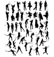 silhouettes sporting activities tennis vector image vector image