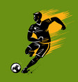 soccer player runs with ball sport vector image