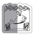 sticker silhouette water landscape with whale vector image vector image