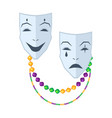 theatrical comedy and tragedy masks flat vector image vector image