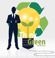 Think green Eco concept Light bulb with Tree and vector image