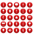 vegetables icons set vetor red vector image