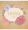 vintage background with peony and butterfly vector image vector image