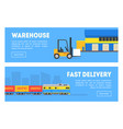 warehouse fast delivery banners set commercial vector image vector image