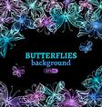 Watercolor butterflies background vector image vector image