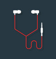 white and red headphones vector image vector image