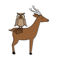 wild deer with owl vector image