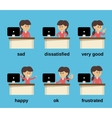 Businesswoman working emotions set vector image