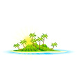 Background with Tropical Island and Palm Trees vector image vector image