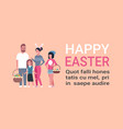 big family on happy easter poster with copy space vector image