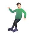 boy braking inline skates icon cartoon style vector image vector image