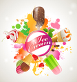 bright background with ice cream vector image vector image