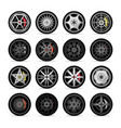 car titanium rim icon collection vector image vector image