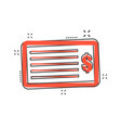 cartoon money check icon in comic style bank vector image