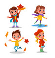 children playing with autumn leaves set girls ad vector image vector image