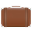 classic brown travel suitcase bag vector image vector image