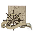 classic marine round wood steering wheel vector image vector image