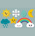 collection weather characters cute vector image vector image