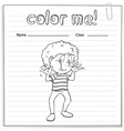 Coloring worksheet with a boy vector image vector image