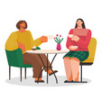 couple drinking coffee and eating cake vector image