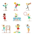 Creative Kids Practicing Different Arts And Crafts vector image vector image
