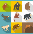 different monkey icon set flat style vector image vector image