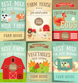 farm food and agriculture posters set vector image vector image