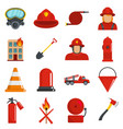 fire fighter icons set isolated vector image vector image