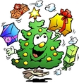 Hand-drawn of an Christmas Who Juggle Gifts vector image