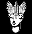 hand drawn of female head with rocket and wings vector image