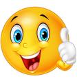 Happy emoticon giving thumb up vector image vector image