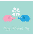 Happy Valentines Day Love card Pink blue elephants vector image vector image
