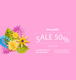 horizontal paper tropical flower sale banner vector image vector image