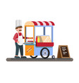 hot dog cart kiosk on wheels retail fast food vector image vector image