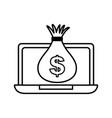 laptop computer money bag dollar vector image