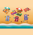 people sunbathing on beach vector image vector image