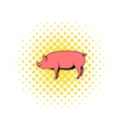 Pig icon in comics style vector image vector image