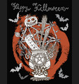 poster with halloween traditional symbols vector image vector image