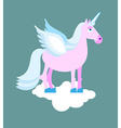 Purple Unicorn with blue mane on cloud Mythical vector image