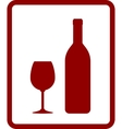 red wine icon with bottle and glass vector image vector image