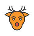 reindeer head merry christmas related icon set vector image vector image