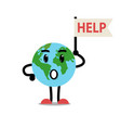 sad earth character vector image vector image