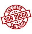san diego red round grunge stamp vector image