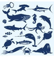 sealife sea and ocean animals and fish vector image vector image