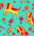 seamless pattern with cute dogs background with vector image vector image