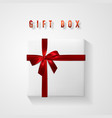 set white gift box with red bow and ribbon top vector image vector image