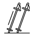 ski sticks icon outline style vector image