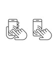 smartphone hand icons set vector image vector image